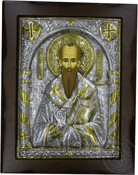 Saint Gregory - Silver Gold Plated Icon