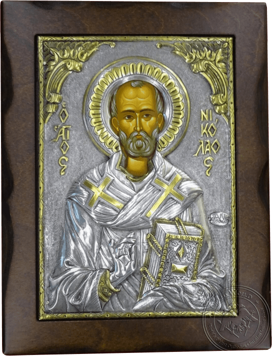 Saint Nicholas - Silver Gold Plated Icon