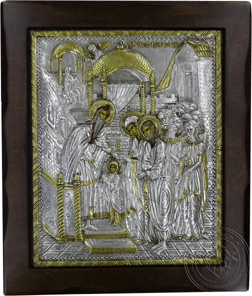 The Presentation of the Virgin in the Temple - Silver Gold Plated Icon