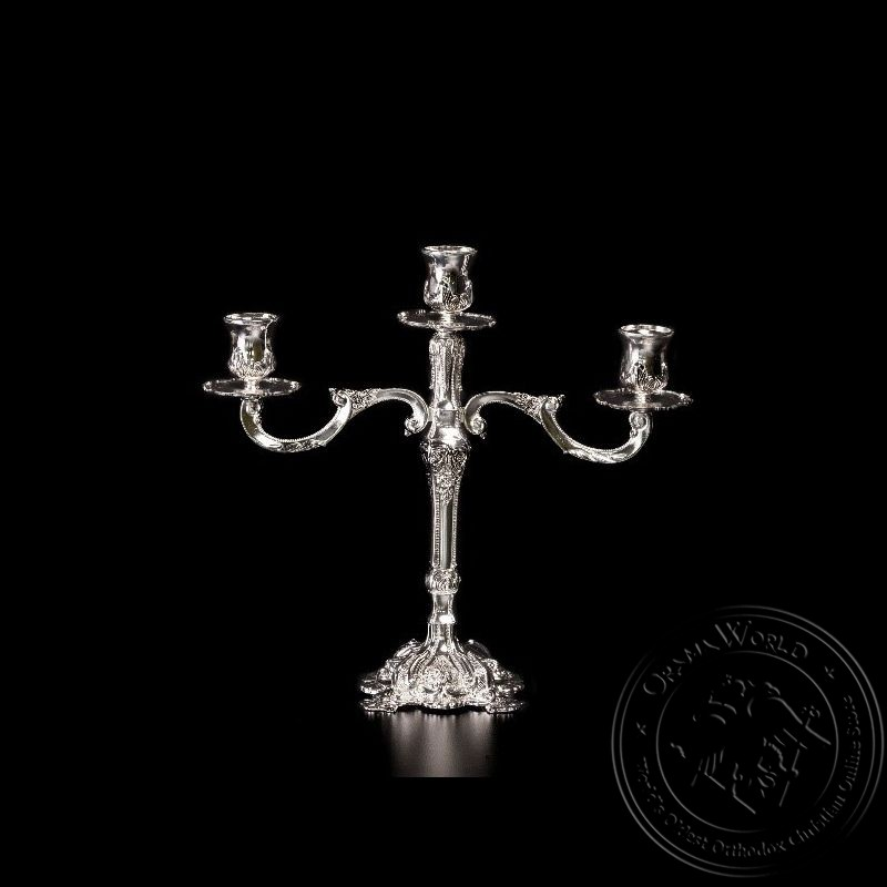 Holy Table Triple Candlestick Silver Plated - 1010-22
