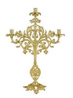 Holy Table Triple Candlestick Molten Gold Plated
