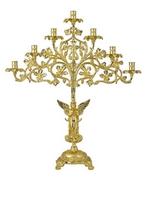 Seven-Candles Candlestick Molten Gold Plated