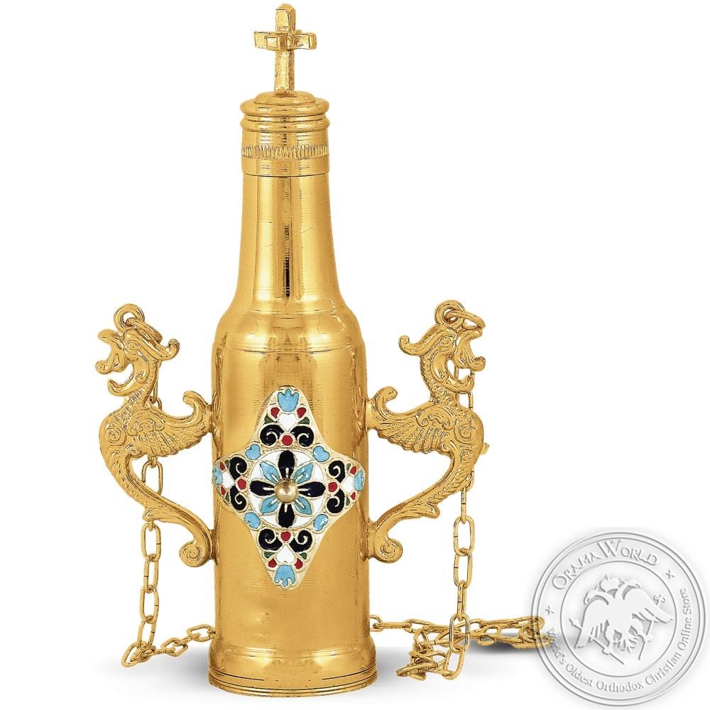 Anointing Oil Bottle Enamel Gold Plated