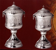 Hand Carved Chromium Baptismal Font with Lid