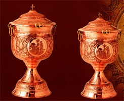 Hand Carved Copper Baptismal Font with Lid & Tank
