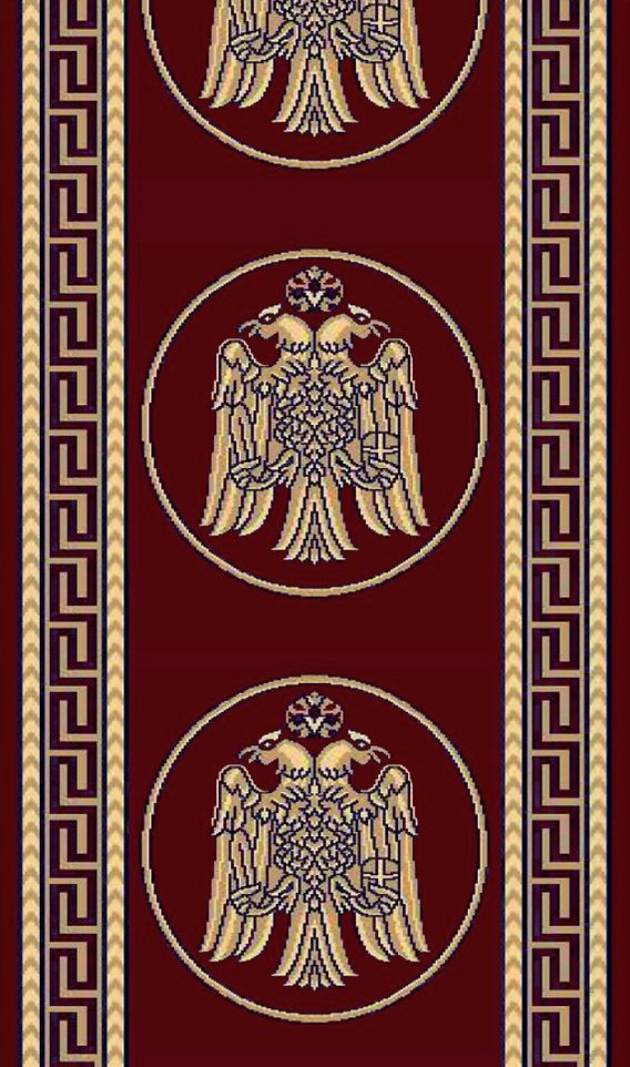 Ecclesiastical Corridor with Double-headed Eagle and Meander in Red Color