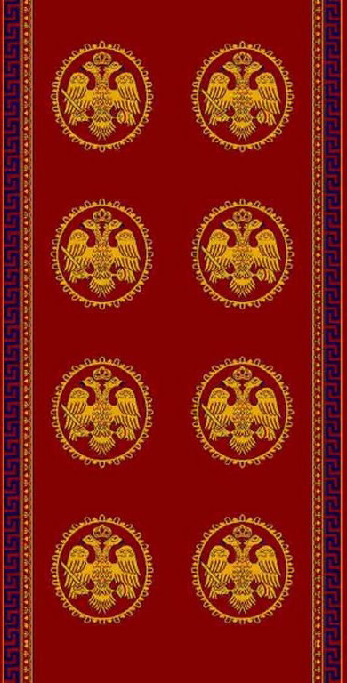 Ecclesiastical Corridor with Double Byzantine Double-headed Eagle in Red Color