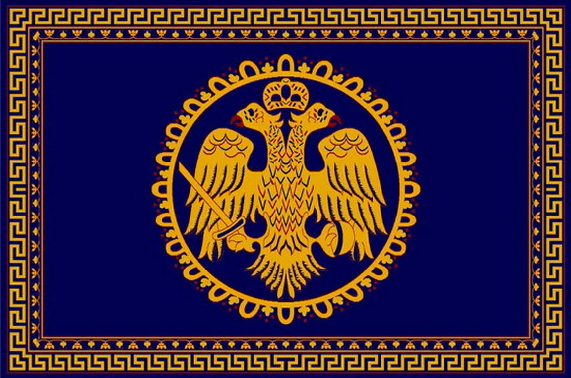 Rectangular Ecclesiastical Carpet with Double-headed Eagle and Meander in Blue Color