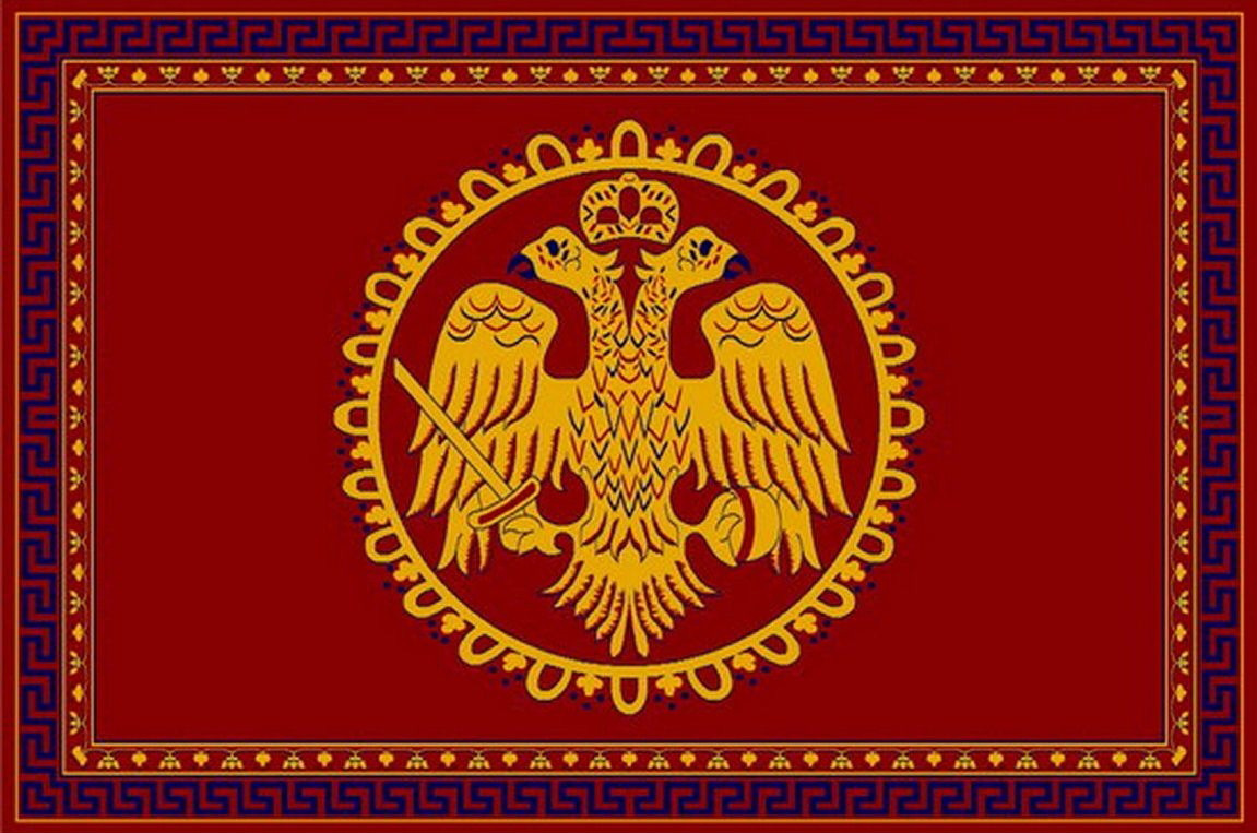 Rectangular Ecclesiastical Carpet with Double-headed Eagle and Meander in Red Color