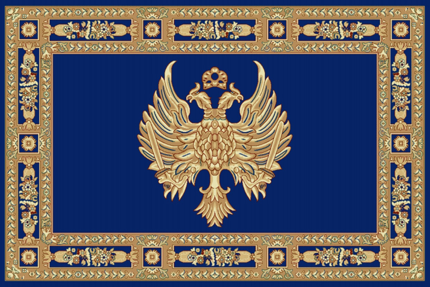 Rectangular Ecclesiastical Carpet with Double-headed Eagle in Blue Color