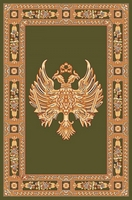 Rectangular Ecclesiastical Carpet with Double-headed Eagle in Green Color