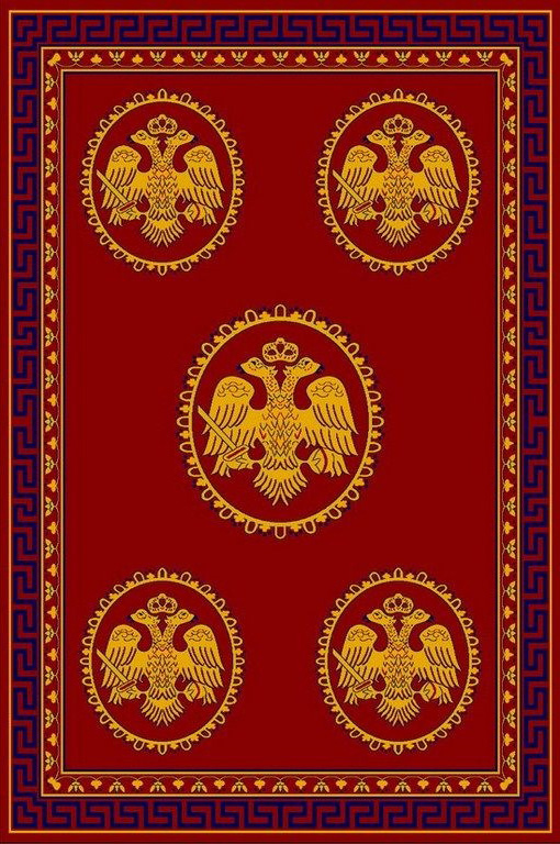 Rectangular Ecclesiastical Carpet with Double-headed Eagles and Meander in Red Color