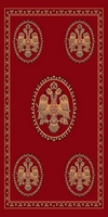 Rectangular Ecclesiastical Carpet with Double-headed Eagles in Red Color