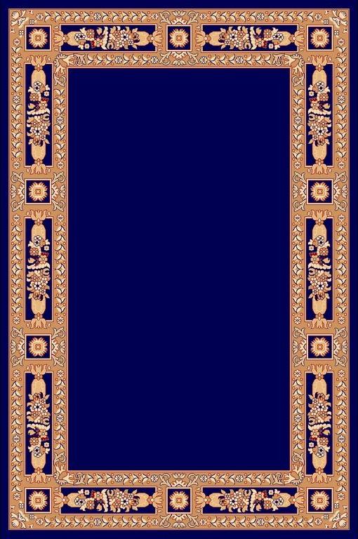 Rectangular Ecclesiastical Carpet with Decoration in Blue Color