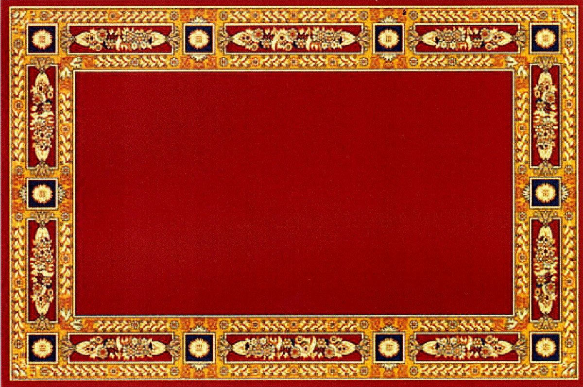 Rectangular Ecclesiastical Carpet with Decoration in Red Color