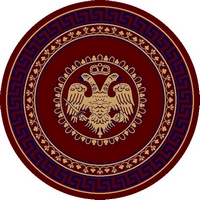 Round Ecclesiastical Carpet with Double-headed Eagle and Blue Meander