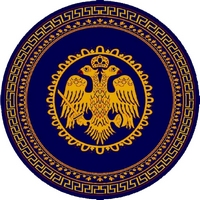 Round Ecclesiastical Carpet with Double-headed Eagle and Meander in Blue Color
