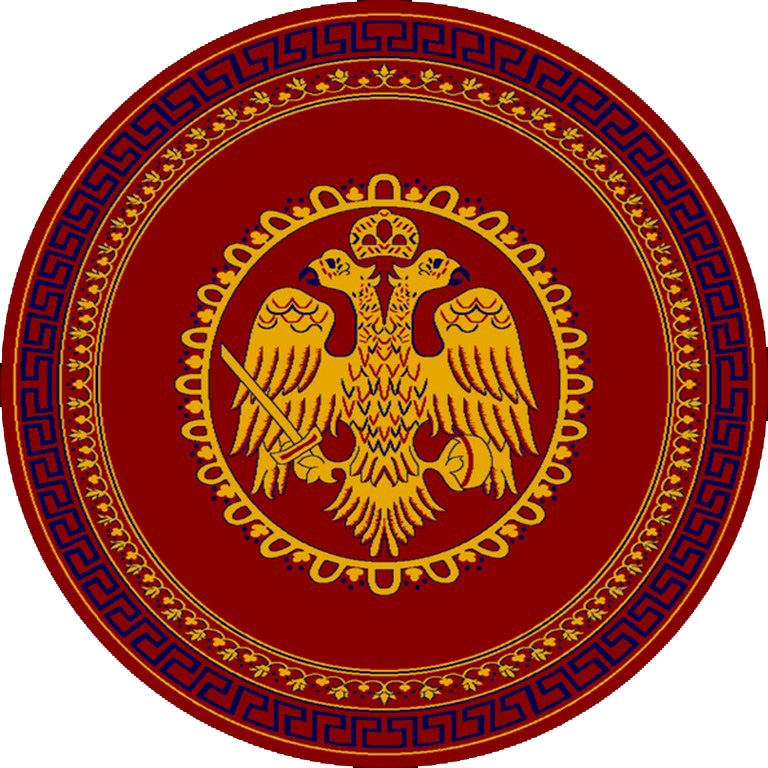 Round Ecclesiastical Carpet with Double-headed Eagle and Meander in Red Color