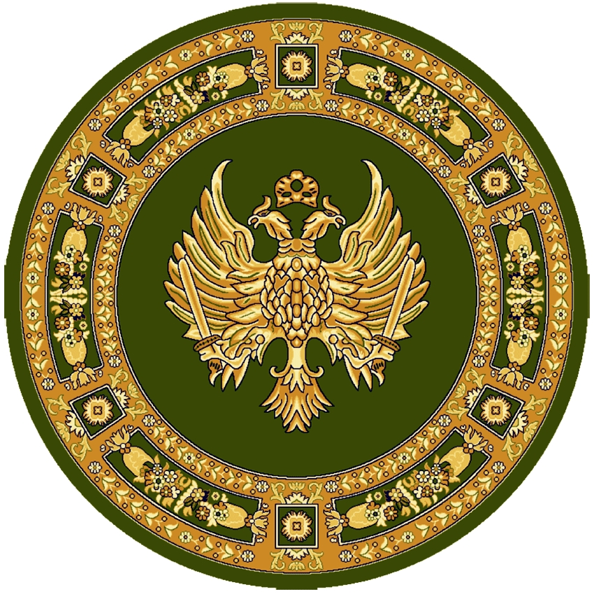 Round Ecclesiastical Carpet with Double-headed Eagle in Green Color