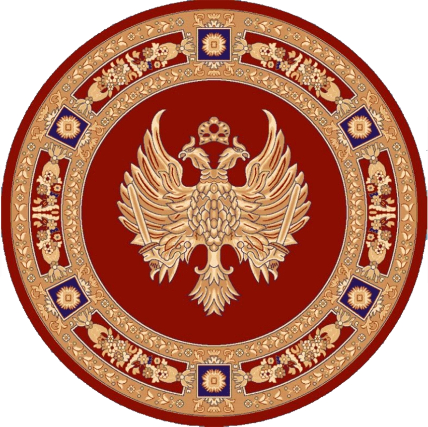 Round Ecclesiastical Carpet with Double-headed Eagle in Red Color