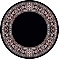 Round Ecclesiastical Carpet with Decoration in Black Color