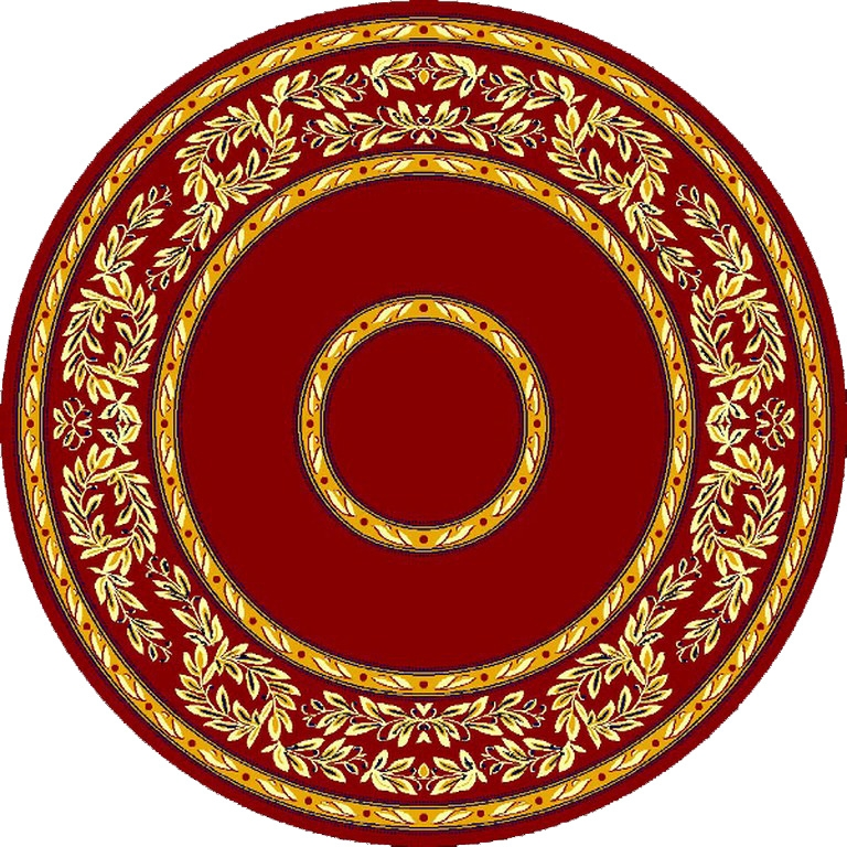 Round Ecclesiastical Carpet with Olive Branches in Red Color