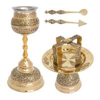 Byzantine Brass Ecclesiastical Chalice Set