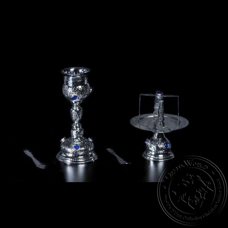 Chalice Set Silver Plated with Big Blue Stones - 1003-24
