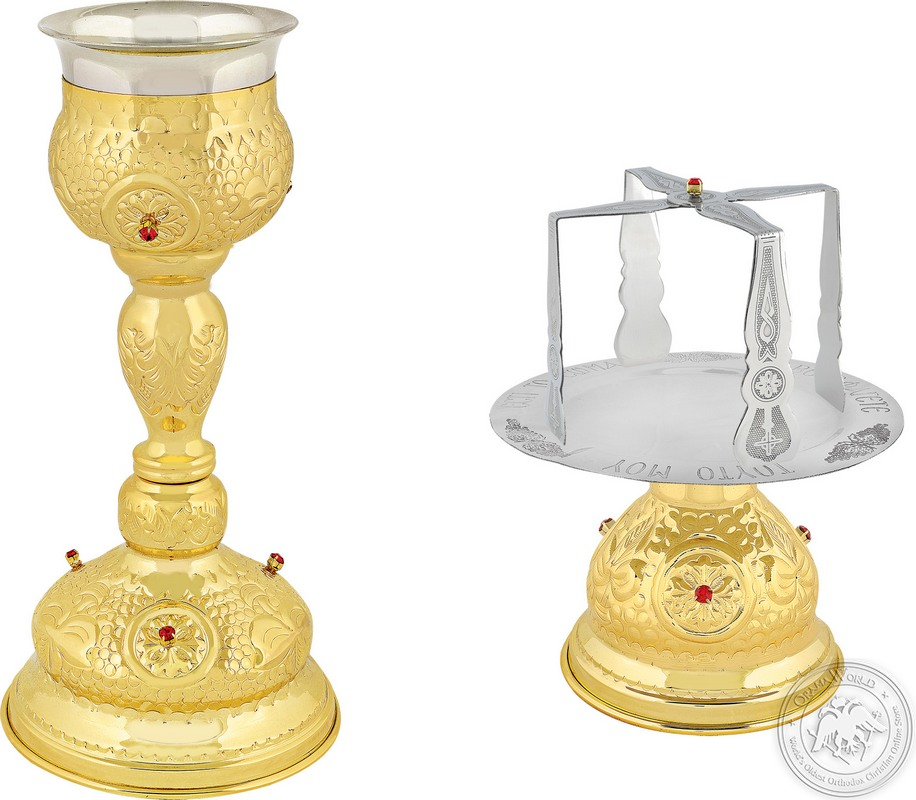 Chalice Set with Red Stones 250ml - 0306
