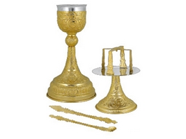 Chalice Set Mount Athos Design B Gold Plated