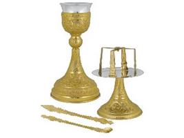 Chalice Set Mount Athos Design C Gold Plated
