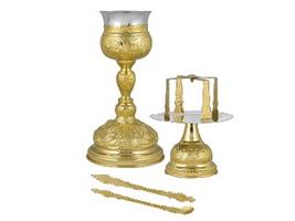 Chalice Set Byzantine Design Representations Gold Plated
