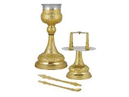 Chalice Set Byzantine Design A Gold Plated