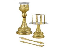 Chalice Set Byzantine Design B Gold Plated