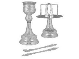 Chalice Set Byzantine Design C Silver Plated