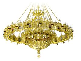 Chandelier Aluminium Byzantine & Choros No183 Gold Plated