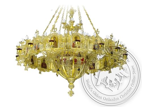 Chandelier Aluminium Byzantine & Choros No95 Gold Plated