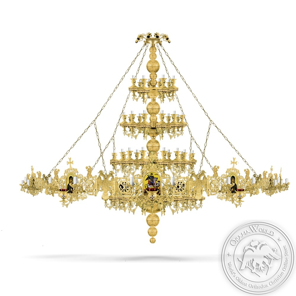 Bronze Chandelier and Choros Gold Plated - 100 Lights