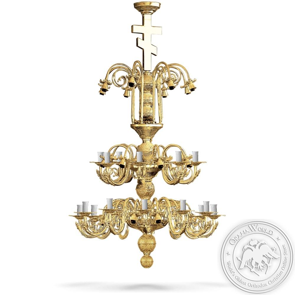 Bronze Chandelier Gold Plated - 48 Lights
