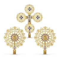 Procesional Fans and Cross Enamel Gold Plated