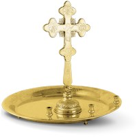 Tray and Cross Set Gold Plated