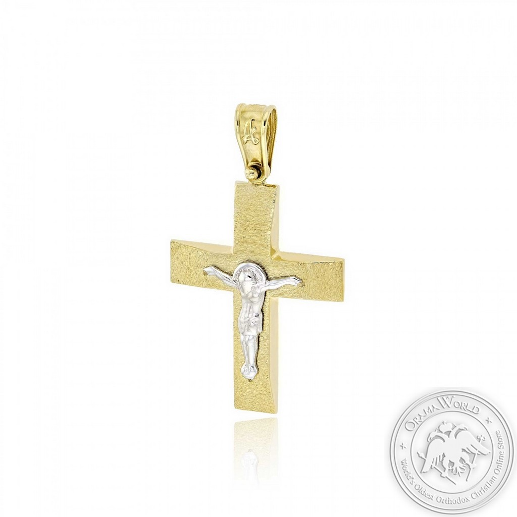 Christening Cross for Boys made of 14K White and Yellow Gold