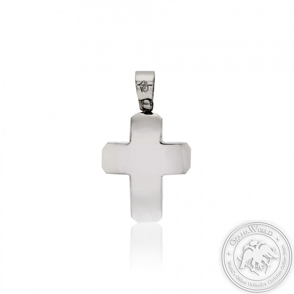 Christening Cross for Boys made of 14K White Gold