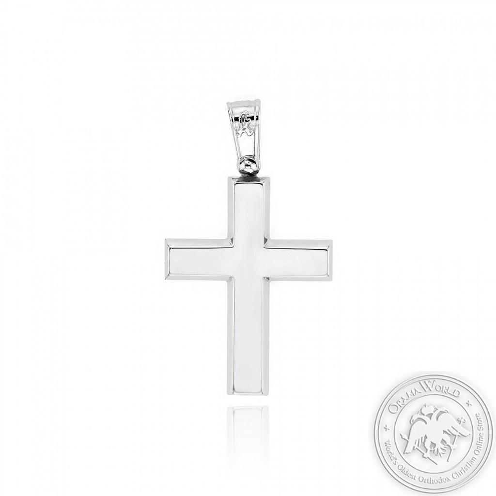 Christening Cross for Boys made of 14K White Gold