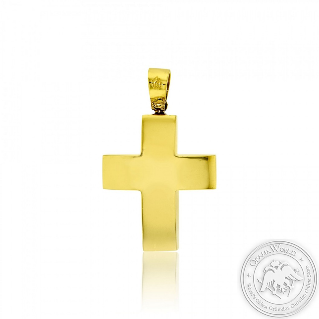Christening Cross for Boys made of 14K Yellow Gold
