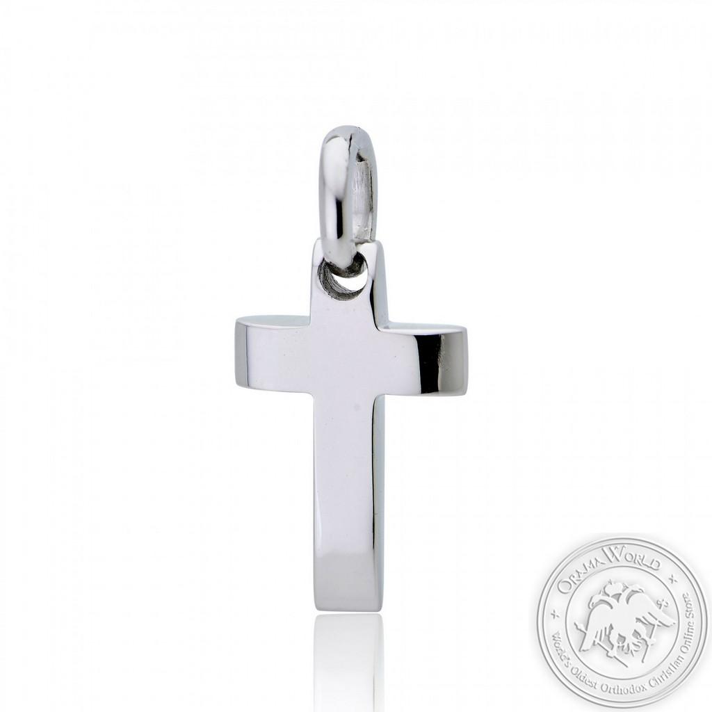 Christening Cross for Boys made of 18K White Gold