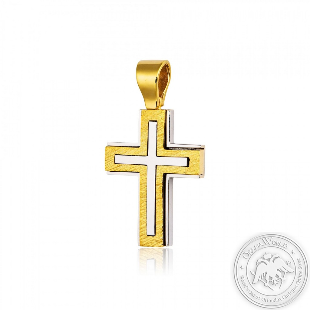 Christening Cross for Boys made of 18K Yellow and White Gold
