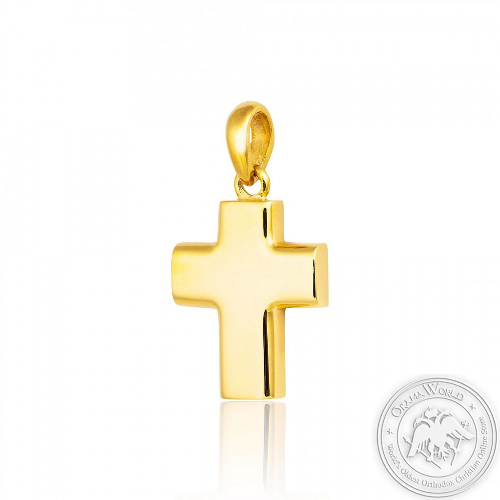 Christening Cross for Boys made of 18K Yellow Gold