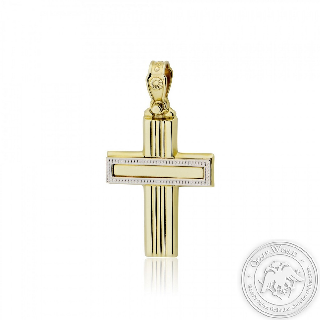 Christening Cross for Boys made of 9K Yellow and White Gold