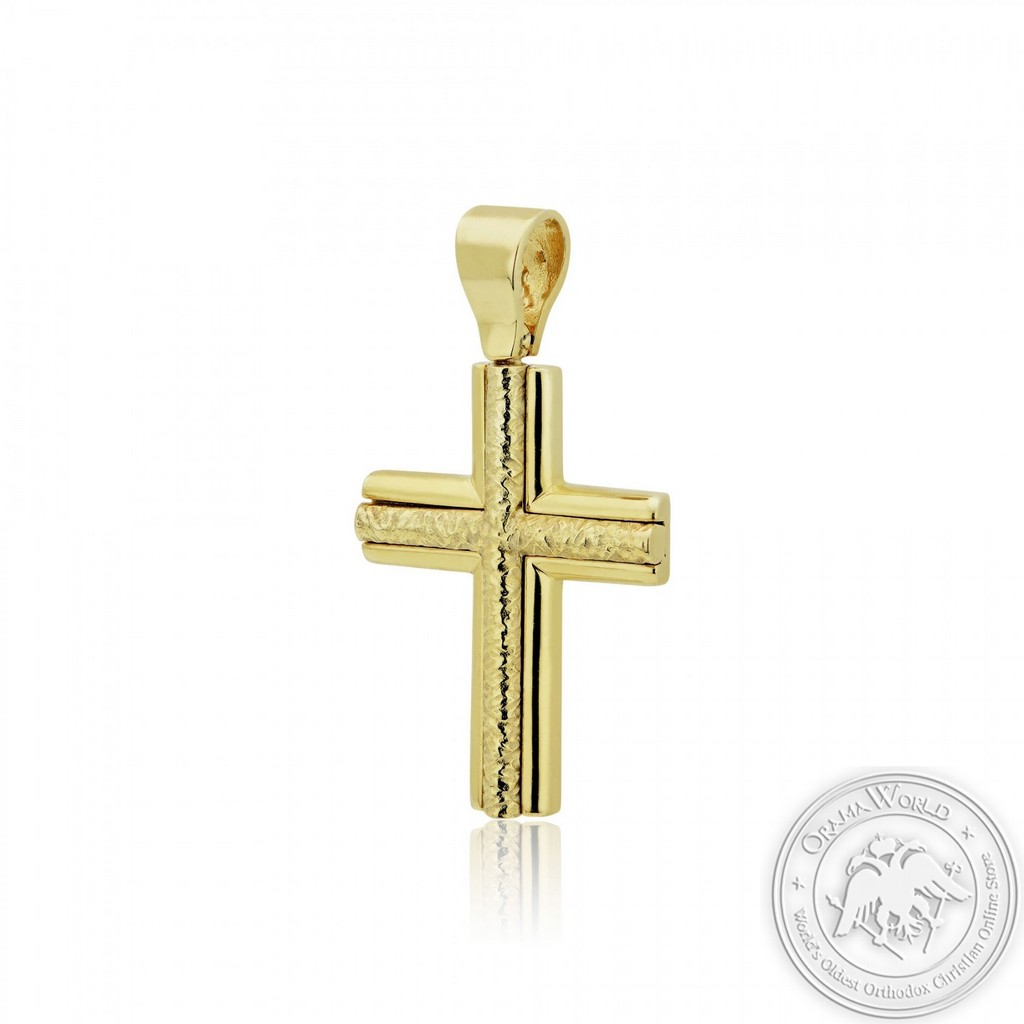 Christening Cross For Boys made of Gold-Plated Sterling Silver 925